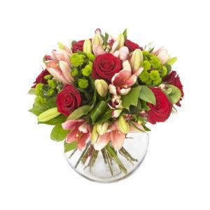 Bouquet con lillium rosa e rose rosse