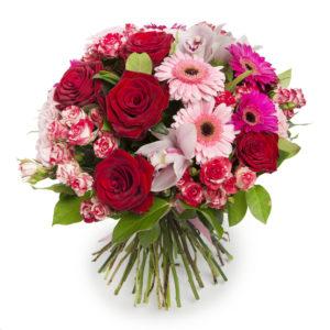 Bouquet di rose rosse e gerbere rosa