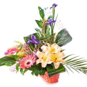 Composizione in cesto con gerbere rosa, gigli chiari e iris blu