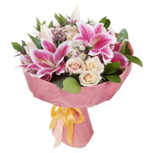 Bouquet di lilium e rose