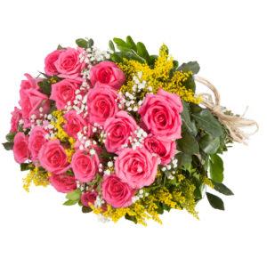 Bouquet Di Rose Rosa Con Mimosa