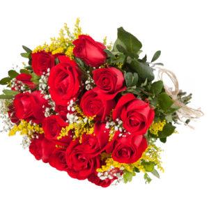 Bouquet Di Rose Rosse Con Mimosa